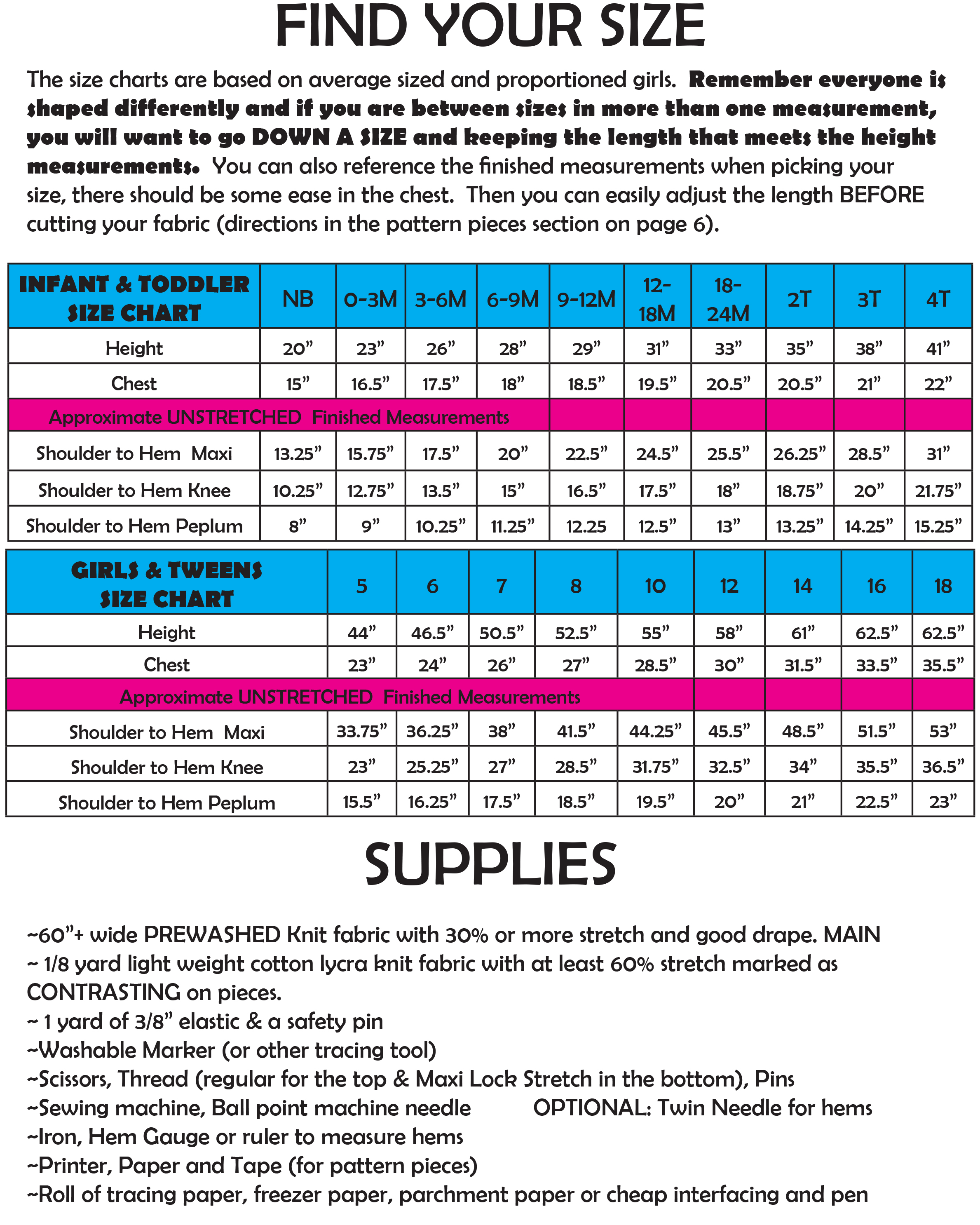 california girls size & supply chart