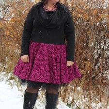 Shown with a skirt shortened to ABOVE knee and worn over a petti skirt.