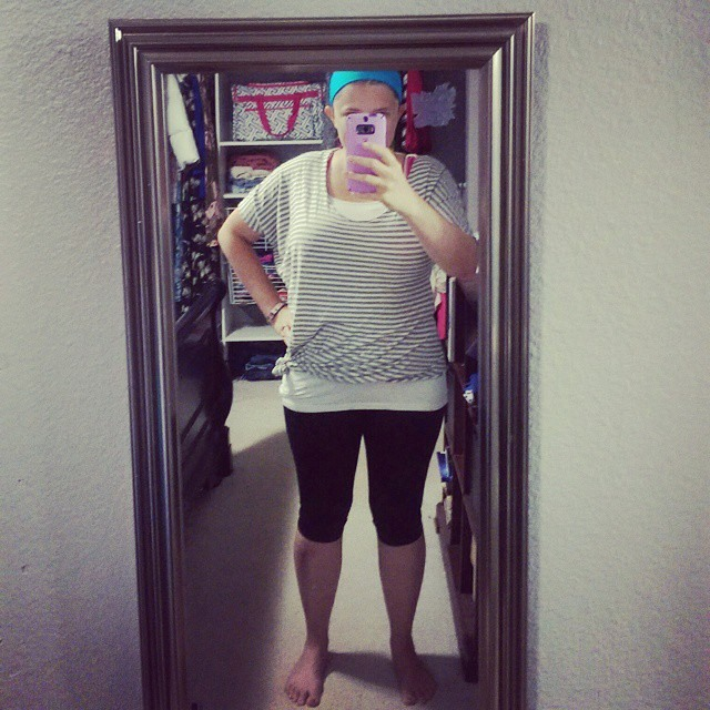 One of my favorite outfits for working out! EYMM Asymmetrical Drape Top with a cami and the EYMM Get Moving Leggings. Great for working out, but not the best for errands and teaching art.