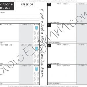 FREE Weekly Printable Fitness Log