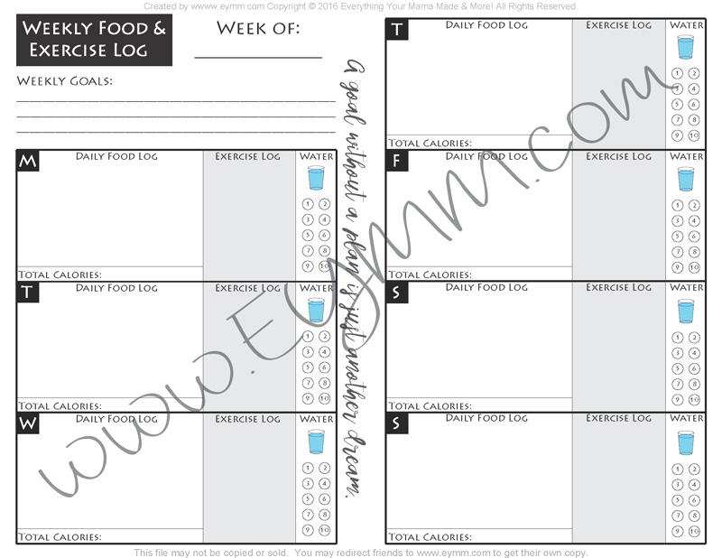 graphic about Printable Fitness Log identify No cost Weekly Printable Physical fitness Log Anything at all Your Mama